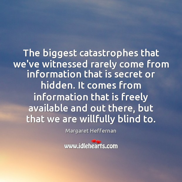 The biggest catastrophes that we've witnessed rarely come from information that is Margaret Heffernan Picture Quote