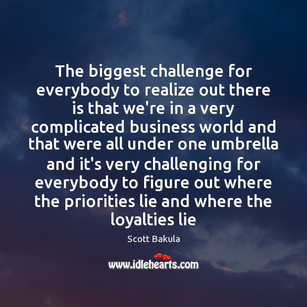 The biggest challenge for everybody to realize out there is that we're Image