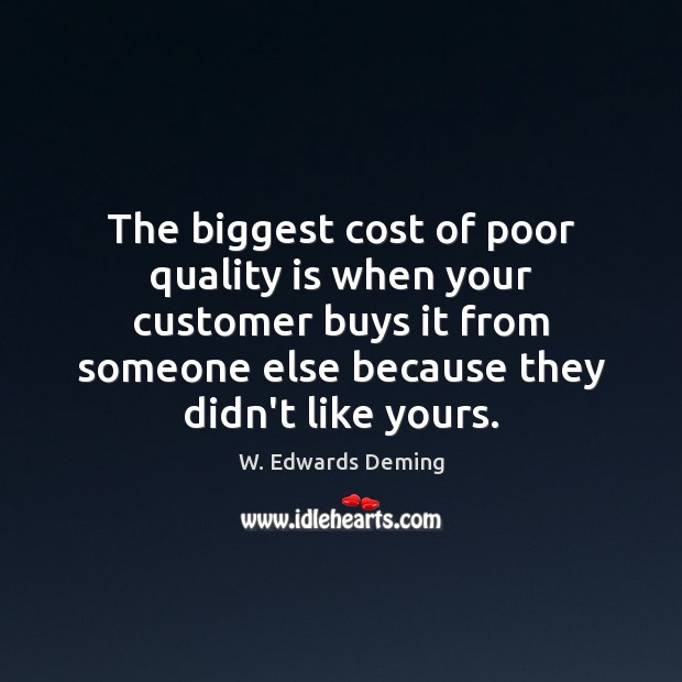 Image, The biggest cost of poor quality is when your customer buys it
