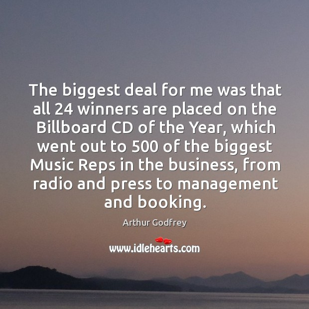 Image, The biggest deal for me was that all 24 winners are placed on the billboard cd of the year