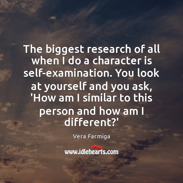The biggest research of all when I do a character is self-examination. Character Quotes Image