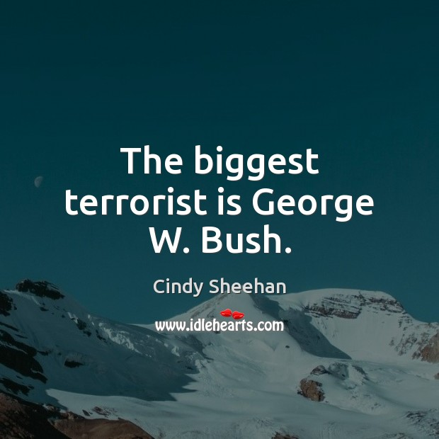 The biggest terrorist is George W. Bush. Cindy Sheehan Picture Quote