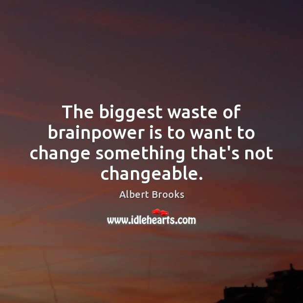 The biggest waste of brainpower is to want to change something that's not changeable. Image
