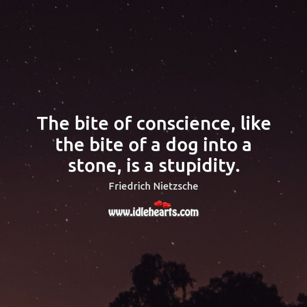 The bite of conscience, like the bite of a dog into a stone, is a stupidity. Friedrich Nietzsche Picture Quote