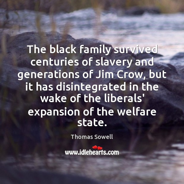 The black family survived centuries of slavery and generations of Jim Crow, Thomas Sowell Picture Quote