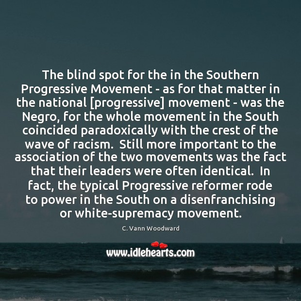 Image, The blind spot for the in the Southern Progressive Movement – as