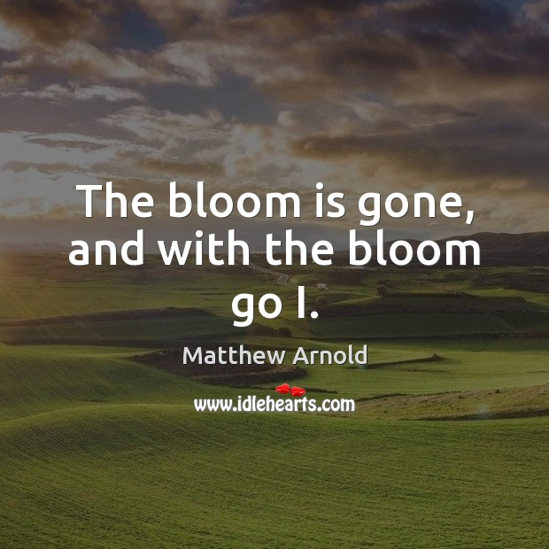The bloom is gone, and with the bloom go I. Matthew Arnold Picture Quote
