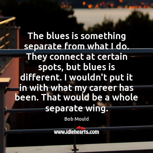 Image, The blues is something separate from what I do. They connect at