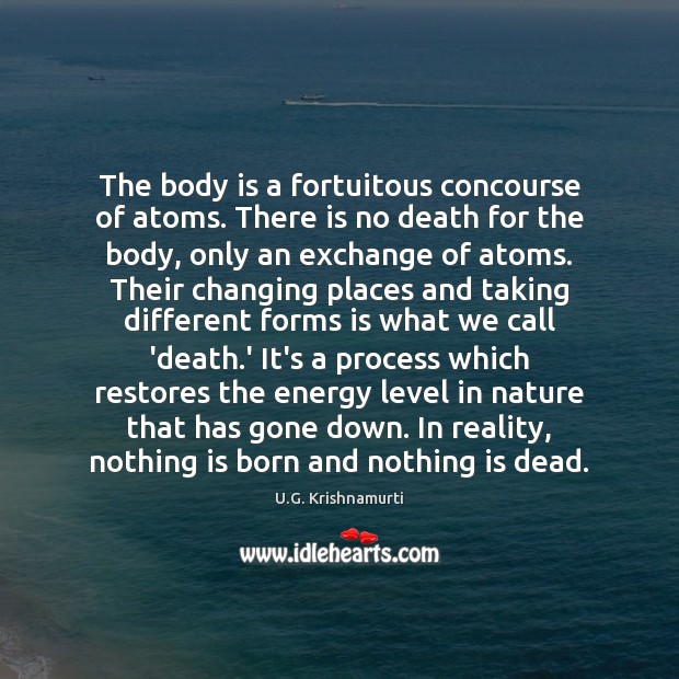 The body is a fortuitous concourse of atoms. There is no death Image