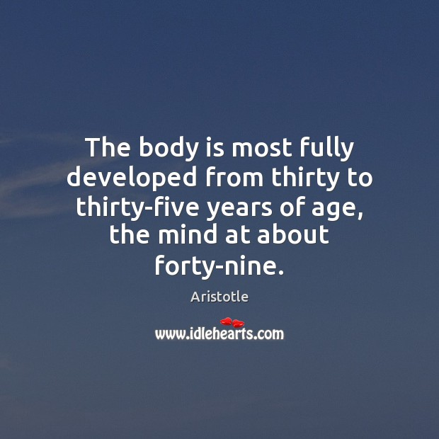 Image, The body is most fully developed from thirty to thirty-five years of