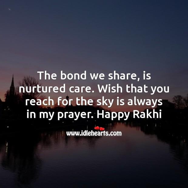 The bond we share, is nurtured care. Raksha Bandhan Messages Image