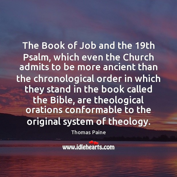 Image, The Book of Job and the 19th Psalm, which even the Church