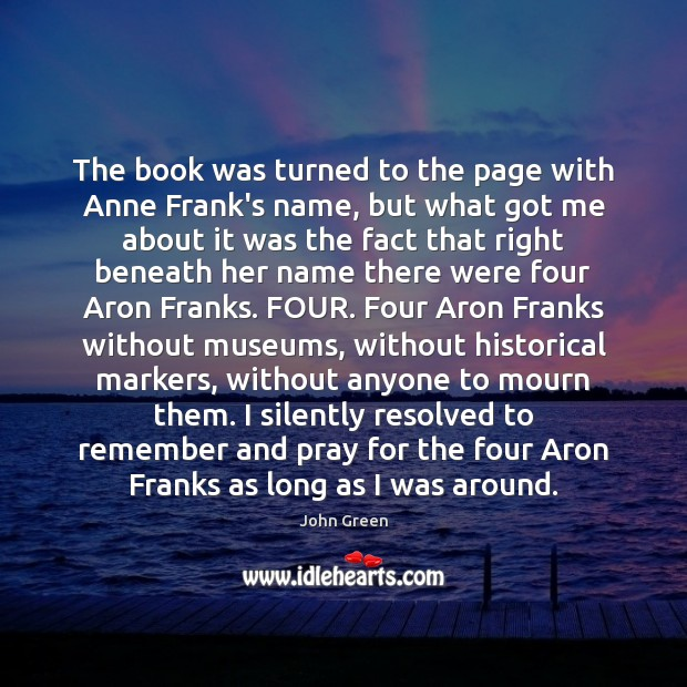 The book was turned to the page with Anne Frank's name, but Image