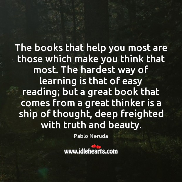 Image, The books that help you most are those which make you think
