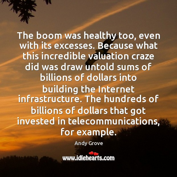 The boom was healthy too, even with its excesses. Because what this Andy Grove Picture Quote