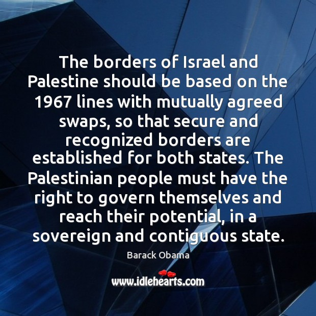 Image, The borders of Israel and Palestine should be based on the 1967 lines