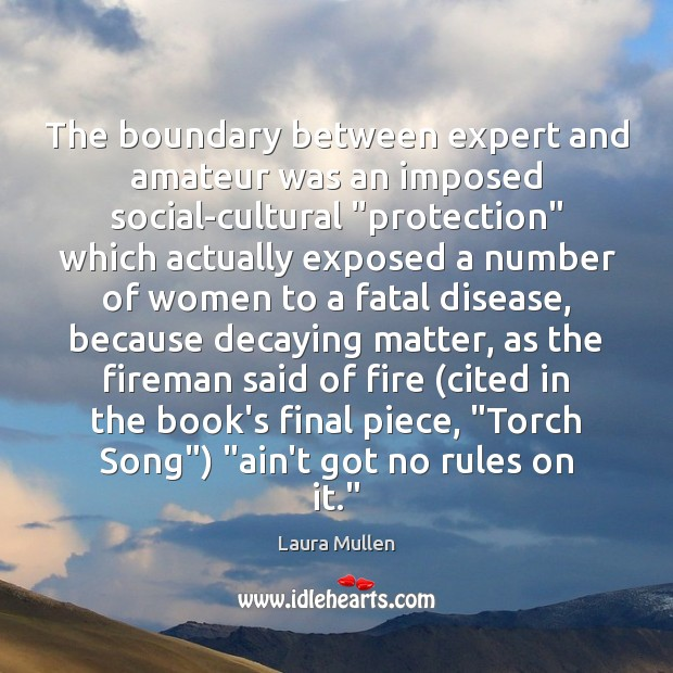 "The boundary between expert and amateur was an imposed social-cultural ""protection"" which Laura Mullen Picture Quote"