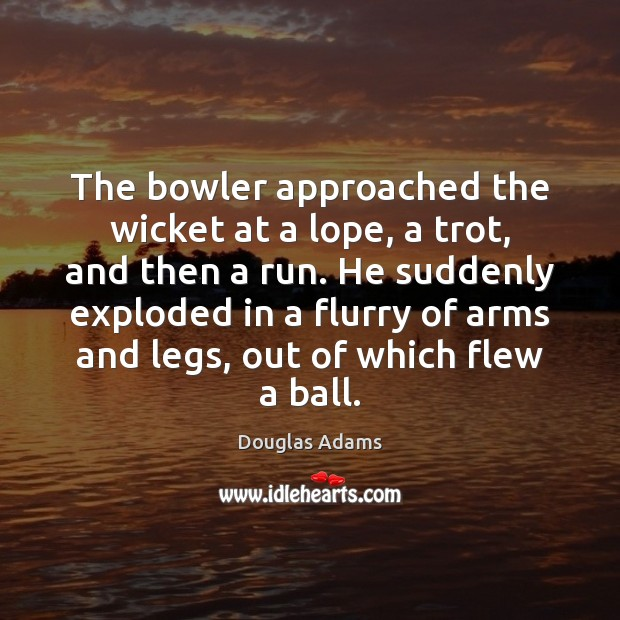 The bowler approached the wicket at a lope, a trot, and then Douglas Adams Picture Quote