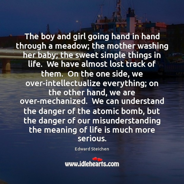 The boy and girl going hand in hand through a meadow; the Misunderstanding Quotes Image