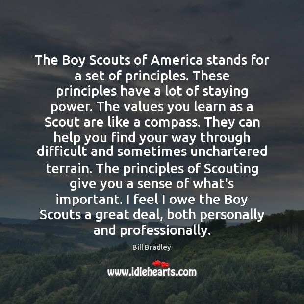 The Boy Scouts of America stands for a set of principles. These Image