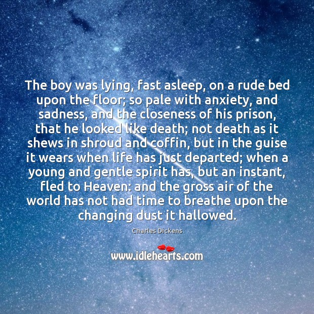 The boy was lying, fast asleep, on a rude bed upon the Image