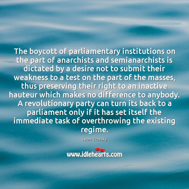 The boycott of parliamentary institutions on the part of anarchists and semianarchists Leon Trotsky Picture Quote