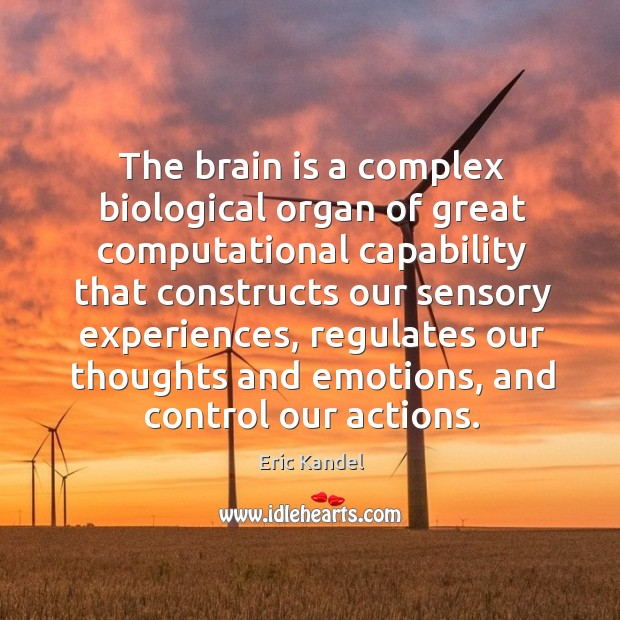 The brain is a complex biological organ of great computational capability that Eric Kandel Picture Quote