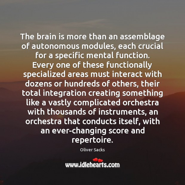 The brain is more than an assemblage of autonomous modules, each crucial Oliver Sacks Picture Quote