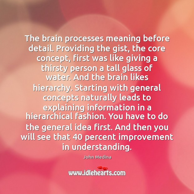 The brain processes meaning before detail. Providing the gist, the core concept, Image