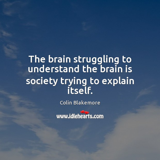 The brain struggling to understand the brain is society trying to explain itself. Image