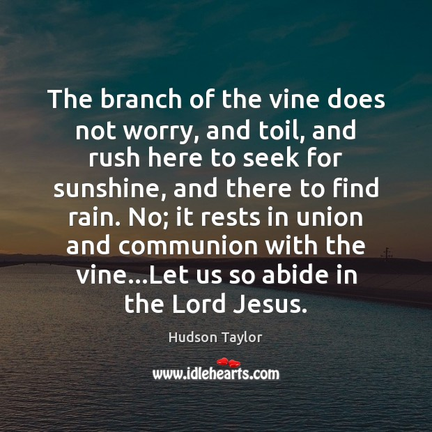 The branch of the vine does not worry, and toil, and rush Hudson Taylor Picture Quote
