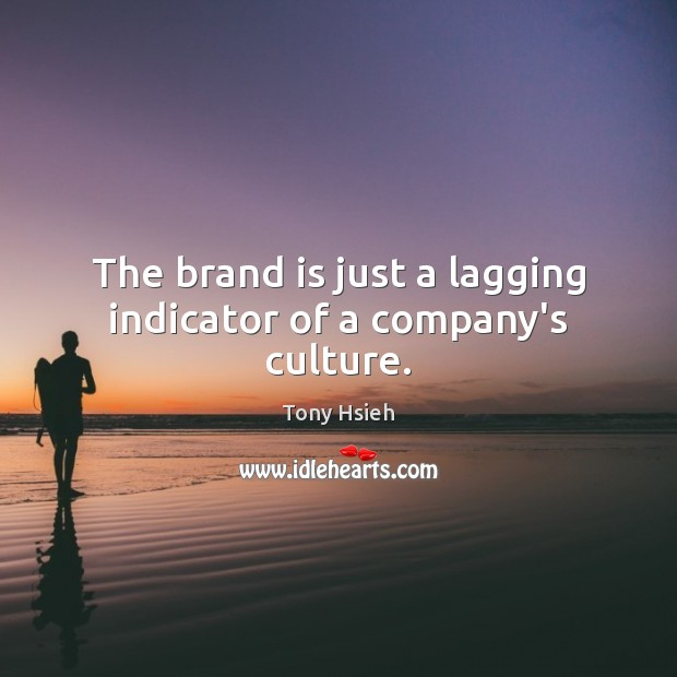 The brand is just a lagging indicator of a company's culture. Tony Hsieh Picture Quote