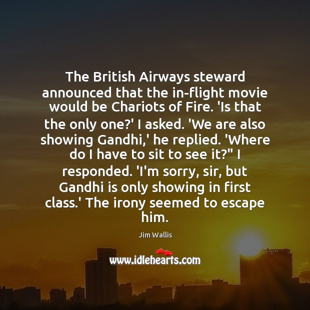 The British Airways steward announced that the in-flight movie would be Chariots Image