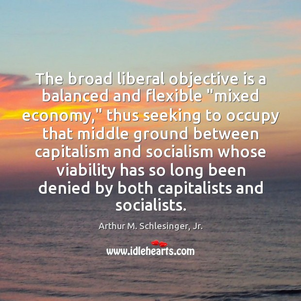 """The broad liberal objective is a balanced and flexible """"mixed economy,"""" thus Arthur M. Schlesinger, Jr. Picture Quote"""