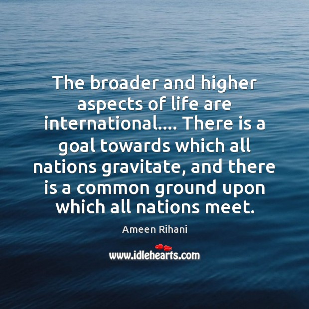 The broader and higher aspects of life are international…. There is a Ameen Rihani Picture Quote