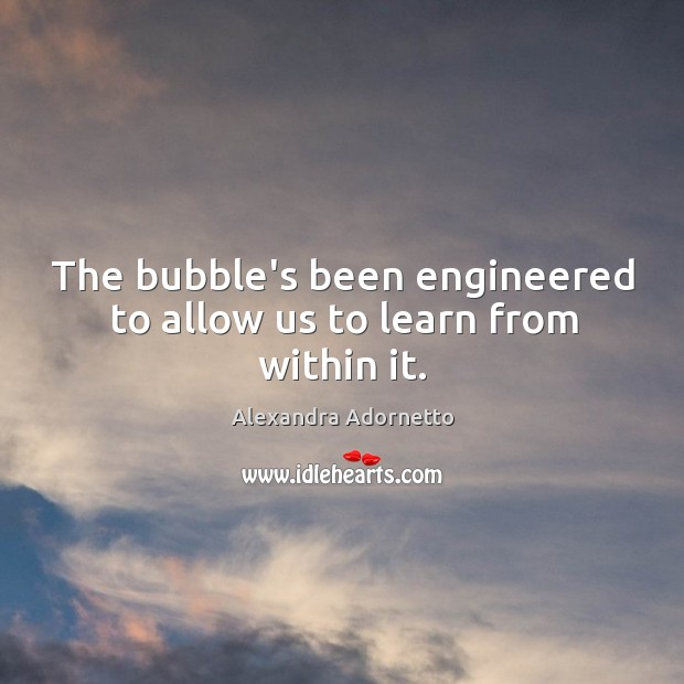 The bubble's been engineered to allow us to learn from within it. Image