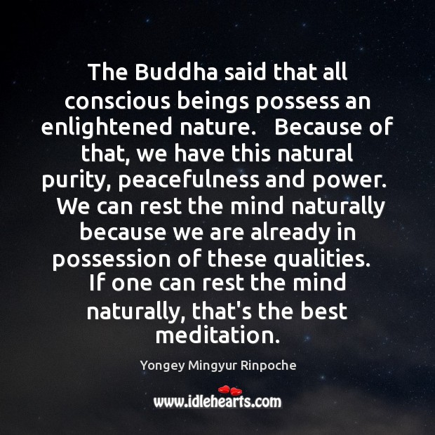 The Buddha said that all conscious beings possess an enlightened nature.   Because Yongey Mingyur Rinpoche Picture Quote