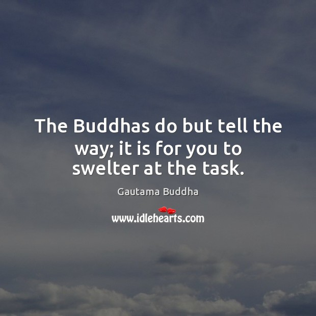 The Buddhas do but tell the way; it is for you to swelter at the task. Gautama Buddha Picture Quote