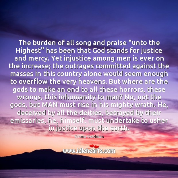 "The burden of all song and praise ""unto the Highest"" has been Image"
