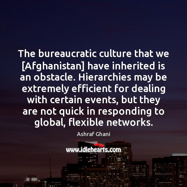 The bureaucratic culture that we [Afghanistan] have inherited is an obstacle. Hierarchies Image