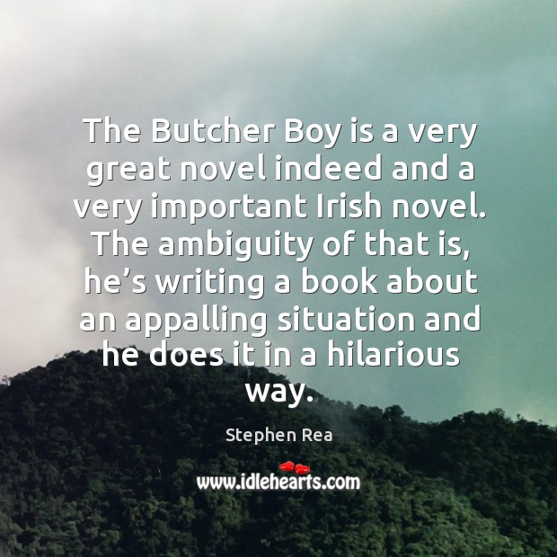 The butcher boy is a very great novel indeed and a very important irish novel. Image