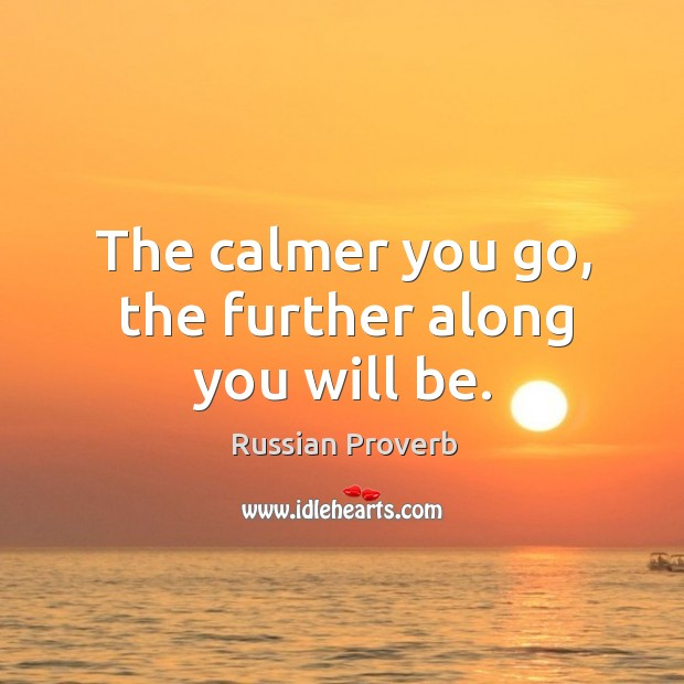 Image, The calmer you go, the further along you will be.