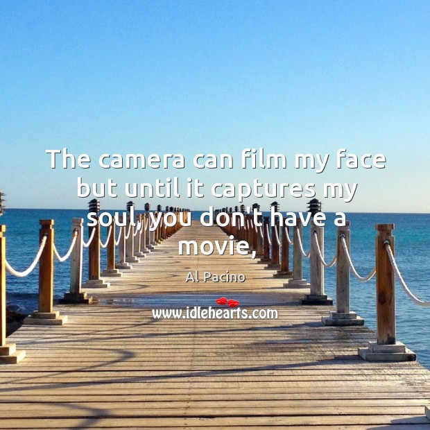 The camera can film my face but until it captures my soul, you don't have a movie, Image