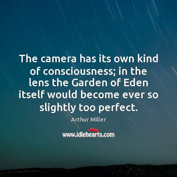 Image, The camera has its own kind of consciousness; in the lens the