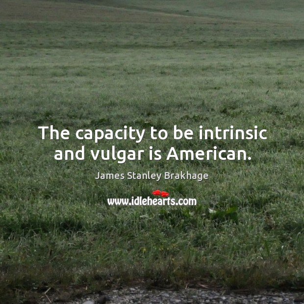 The capacity to be intrinsic and vulgar is american. Image