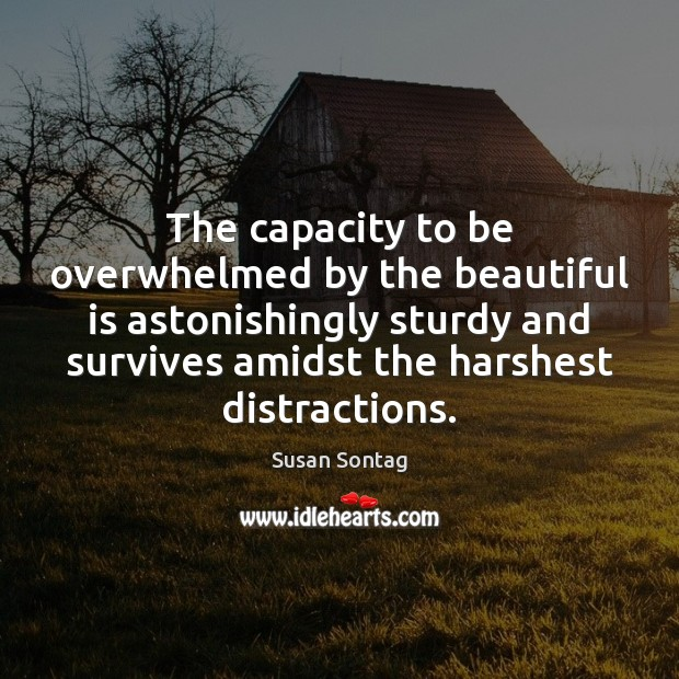 The capacity to be overwhelmed by the beautiful is astonishingly sturdy and Susan Sontag Picture Quote