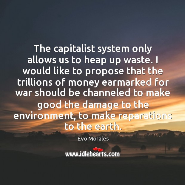 The capitalist system only allows us to heap up waste. I would Image