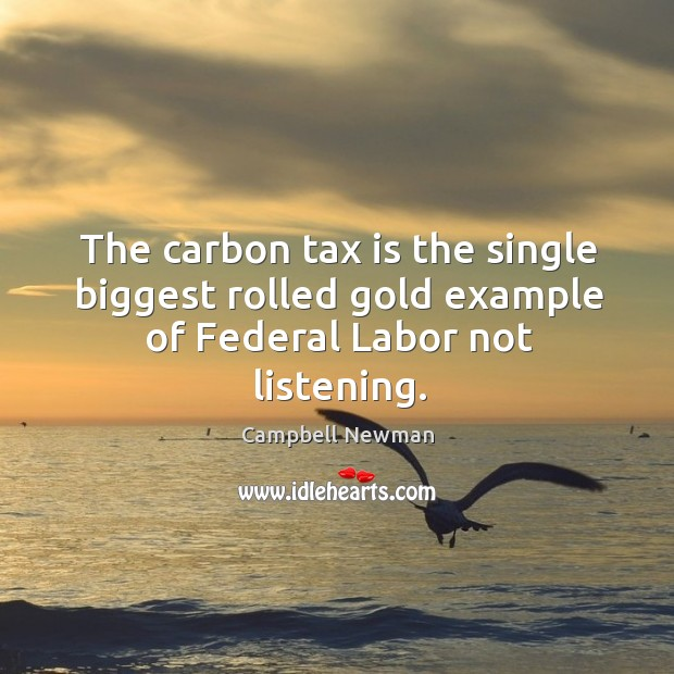 The carbon tax is the single biggest rolled gold example of federal labor not listening. Tax Quotes Image