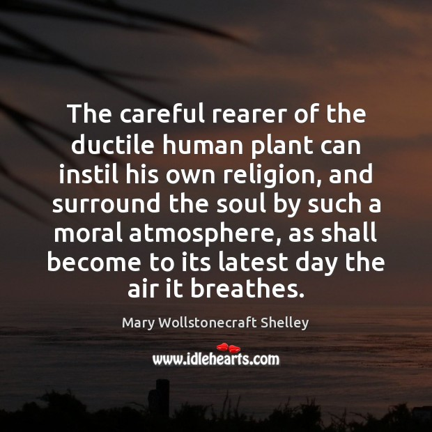 The careful rearer of the ductile human plant can instil his own Mary Wollstonecraft Shelley Picture Quote