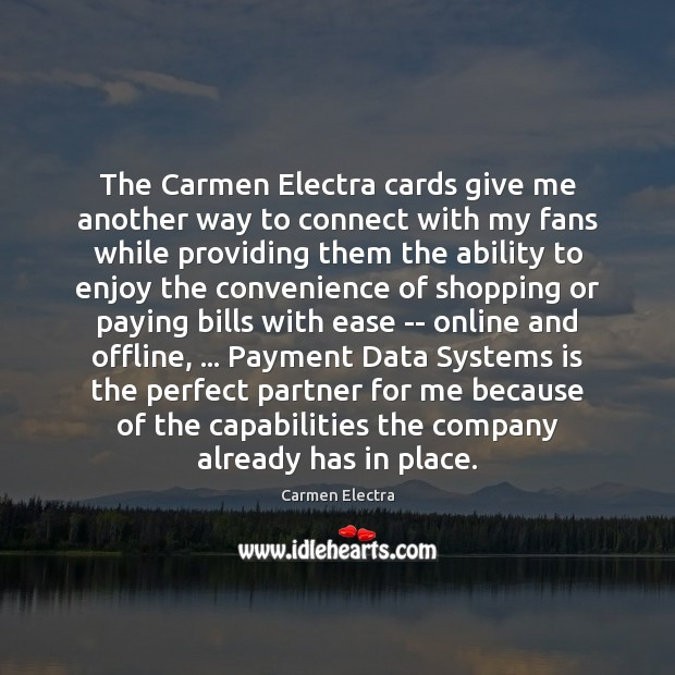 Image, The Carmen Electra cards give me another way to connect with my